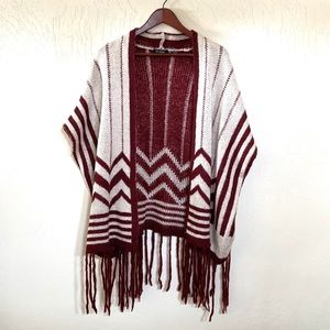Blu Pepper Fringe Cardigan Sweater Cream & Maroon